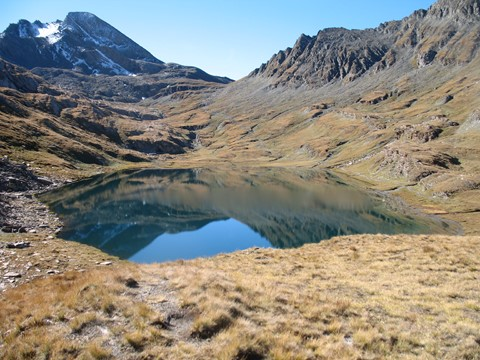 lake below col vieux and pain de sucre Queyars alps self guided walking France